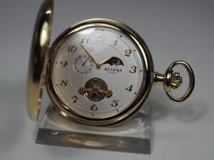 edle REGENT HERREN TASCHENUHR mit MONDPHASE + 24 h Handaufzug Sprungdeckel Uhr