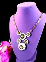MONET GOLD-TONE NECKLACE TOPAZ RHINESTONE ENAMEL TIERED HEADLIGHT MODERN PENDANT