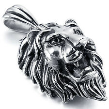 MENDINO Men's Stainless Steel Pendant Chain Necklace Tribal Lion Punk Silver