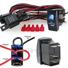 12V On/Off 5 pins Blue LED Light Bar Rocker Switch Kit with Relay Wiring Harness