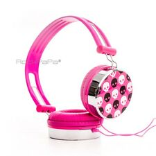 RockPapa Skull Over Ear Kids Girls Childs Adults DJ Headphones Pink iPod Phone