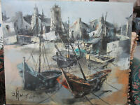JEAN AMIOT FRANCE BRETAGNE OIL ON CANVAS BOATS 23 X 29, NO FRAME