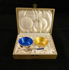 A. Michelsen Denmark Sterling Enamel 4 pc Boxed Salt Cellars and Spoon Set