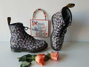 Dr Doc  Martens 1460 black flowers floral ankle boots meadow UK 6 EU 39 US 8