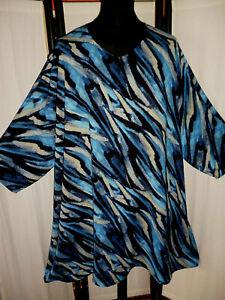 TUNIKA / KLEID Übergröße Viskose Jersey  Blautöne 62 + XXXL