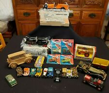 VINTAGE LOT 24 NEW & USED COLLECTIBLE DIECAST/TIN/WOOD/PLASTIC MODEL TRUCKS/CARS