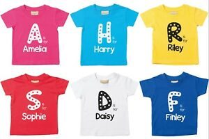 Personalised Letter Name T-Shirt 0-6 Yrs Customised Printed Boys Girls Toddlers