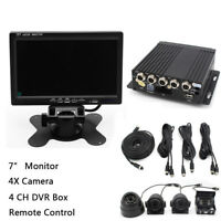 "12-24V 4CH Reversing Parking Camera 4-PIN + 7"" Quad Monitor for Caravan Truck"