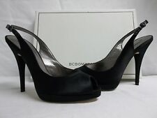 BCBG Max Azria Size 10 M Libby Black Satin Slingbacks Heels New Womens Shoes