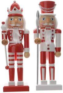 2 x  Wooden Christmas Nutcracker King & Soldier - Red & White Glitter - 25 cm