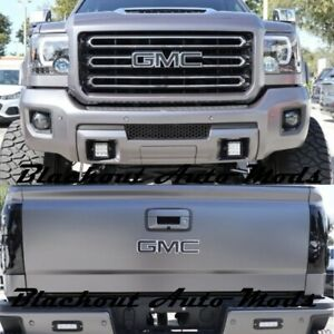 2014-2018 GMC Sierra Matte Black Emblem Blackout Overlay Decals - Set of 2