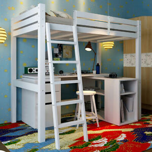 White Wooden 3FT Single Bed High Sleeper Cabin Bunk Bed Frame Student Bedstead