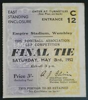 1952 F.A. CUP FINAL  FINAL MATCH TICKET - WEMBLEY  ARSENAL vs NEWCASTLE UNITED