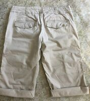 Calvin Klein Women Crop Pants Tan Cuff Roll Up Cargo Style Junior Size 5