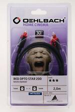 6005 Oehlbach optisches Kabel ~ Red Opto Star 200 ~ 2m Digitalkabel Lichtleiter