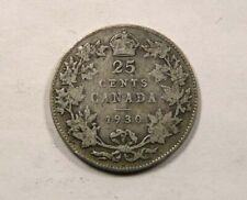 Canada King George V Silver 25 Cents Quarter 1930 SCARCE