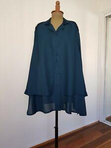 Plus Size teal long sleeve blouse layered dark blue tunic top sz 28-32