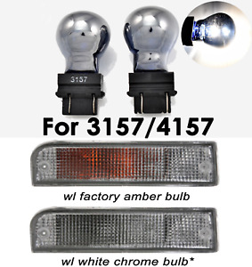 Stealth Chrome Bulb 3157 3057 4157 White Front Signal Light B1 For Dodge A