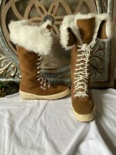 SUPERGA Leather suede boots size 41 / 9.5 faux fur  winter snow tall lace up