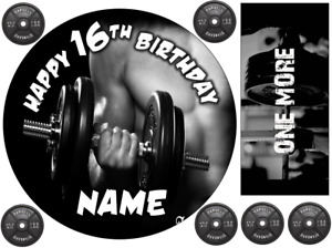 """GYM WORKOUT DUMBBELLS  6"""" / A3 SHEET PERSONALISED CAKE EDIBLE ICING TOPPER"""