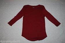 Womens Knit Shirt BURGUNDY BOAT NECK 3/4 Sleeve CUTE CASUAL Round Hem S 4-6