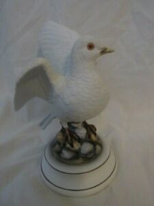 "Andra White Dove Standing on Rocks 9"" Tall Figurine"
