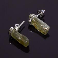 925 Sterling Silver Stud Earrings, Raw Green Kyanite Handcrafted Jewelry RSSE37
