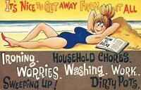 COMIC BAMFORTH WOMAN HOLIDAYING at BEACH HAPPY NO HOUSEWORK POSTCARD - UNUSED