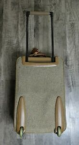 """Vtg Hartmann 22"""" Tweed Leather Rolling Carry On Suitcase Travel Luggage Bag"""