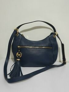 Michael Kors bedford navy leather small/medium shoulder crossbody bag