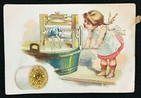 Vintage Trade Card J and P Coats Sewing Mending Thread Girl Washing Doll