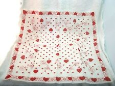 Vintage Valentines Hankie Hearts & Roses In Excellent Shape 14 3/4 x 14 1/2 In