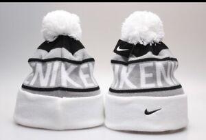 New Nike Logo Arcylic Winter Knit Beanie Cuffed POM Adult Unisex White/Gray