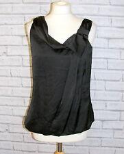 Size 12 H&M bubble hem strappy loose party blouse black satin BNWT £14.99 (HW92)