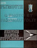 1961 Plymouth Shop Manual Supplement Original Belvedere Fury Savoy Service