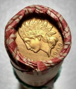 ONE LINCOLN CENT ROLL ONE SIDE BU 1909 INDIAN HEAD / VF 1910 P LINCOLN CENT