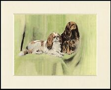 CAVALIER AND KING CHARLES ENGLISH TOY SPANIEL DOGS DOG PRINT READY TO FRAME