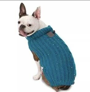 """PetRageous Dog Corbin's Fisherman Cable Sweater Flecked Teal NWT Sz L 18-21"""""""