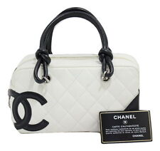 CHANEL Mini Hand Bag White Bowling Bag Cambon Line Lambskin