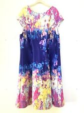 Adrianna Papell Dress Size 22W Fit and Flare Floral Watercolor Scuba Knit