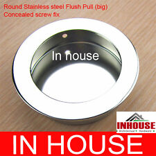 Round Stainless steel Flush pull- concealed screw fix-Chrome(65mm)