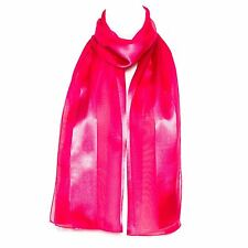 Chiffon Satin Plain Striped Elegant Ladies Scarf Fuchsia