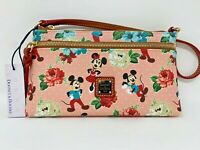Disney Dooney Bourke Mickey Minnie Mouse Dapper Day Pink Floral Wristlet Pouch A