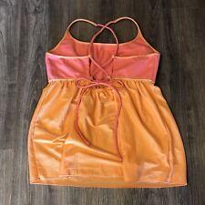 Prana Lace Back Top L Large Tank Coral Orange Pink Tie