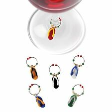 True Fabrications Glass Flip Flop Wine Glass Charms / Drink Markers - Set of 6