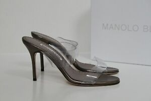 sz 7.5 / 38 Manolo Blahnik Scolto Silver Leather PVC Slide Sandal Classic Shoes