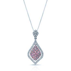 18k White Gold Natural Pink Tourmaline Diamond Pendant Necklace Round Cut Womens
