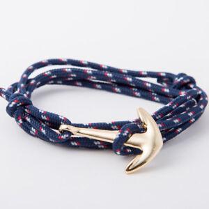 Bracelet Ancre Marine Bleu Dorée Pour Homme Femme Garçon Fille Ado bleu Cadeau
