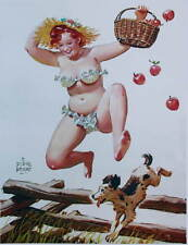 Hilda jumping fence with basket of apples  by Duane Bryers