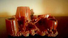 Vintage Hand Carved Red Soap Stone Monkeys,Barrels, Fish Wash Pot & Brush Holder